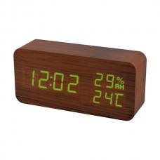 """LED часы-будильник PERFEO """"Wood"""" корич дерево/ зел подсв PF-S736 (PF_A4195) ,температура,влажность"""