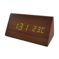 """LED часы-будильник PERFEO """"Pyramid"""" корич дерево/ зел подсв PF-S710T (PF_A4199),температура"""