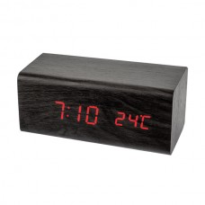 """LED часы-будильник PERFEO """"Block"""" чёрн дерево/ красн подсв PF-S718T (PF_A4396),температура"""