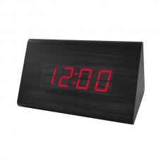 """LED часы-будильник PERFEO """"Trigonal"""" черн дерево/ красн подсв PF-S711T (PF_A4202),температура"""