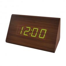 """LED часы-будильник PERFEO """"Trigonal"""" корич дерево/ зел подсв PF-S711T (PF_A4200),температура"""