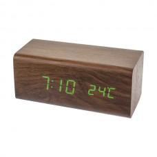 """LED часы-будильник PERFEO """"Block"""" корич дерево/ зел подсв PF-S718T (PF_A4198),температура"""