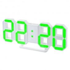 "LED часы-будильник PERFEO ""LUMINOUS"", бел корп/ зел подсв PF-663(PF-5202)"
