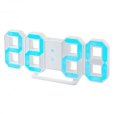 "LED часы-будильник PERFEO ""LUMINOUS"", бел корп/ син подсв PF-663(PF-5203)"