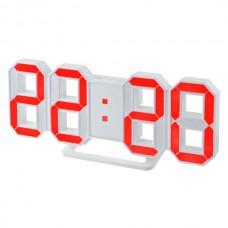 "LED часы-будильник PERFEO ""LUMINOUS"", бел корп/ крас подсв PF-663(PF-5201)"