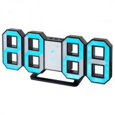 "LED часы-будильник PERFEO ""LUMINOUS"", чер корп/ син подсв PF-663(PF-5199)"
