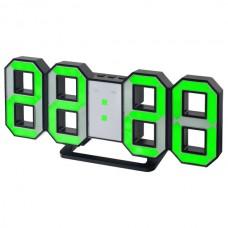 "LED часы-будильник PERFEO ""LUMINOUS"", чер корп/ зел подсв PF-663(PF-5198)"
