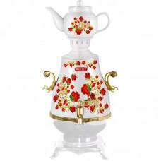 Самовар KELLI KL-1321 (4л, белый с рисунком,керам.чайник)
