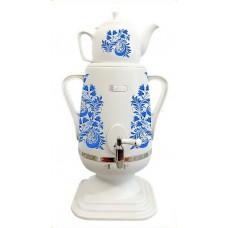 Самовар Добрыня DO-427 (4л, синие цветы, керам.чайник)