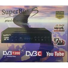 Цифровая приставка SUPER BOX S DVB-T200 (M7000)(DVB-T2/C, WI-FI, USB, метал корпус,инструкция)