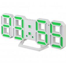 "LED часы-будильник PERFEO ""LUMINOUS 2"", бел корп/ зел подсв (PF-6111) PF B4922"