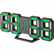 "LED часы-будильник PERFEO ""LUMINOUS 2"", чёрн корп/ зел подсв (PF-6111) PF B4926"