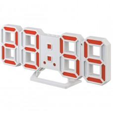 "LED часы-будильник PERFEO ""LUMINOUS 2"", бел корп/ красн подсв (PF-6111) PF B4923"