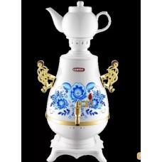 Самовар Centek СТ-0092 A ( бело-голубой+рисунок+золото) 4 л, поддерж.t ,LED индикатор, керам зав)