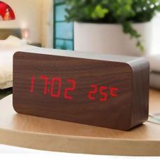 """LED часы-будильник PERFEO """"Block"""" корич дерево/ красн подсв PF-S718T (PF_A4394),температура"""