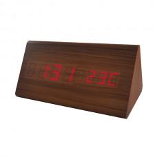 """LED часы-будильник PERFEO """"Pyramid"""" корич дерево/ красн подсв PF-S710T (PF_A4397),температура"""