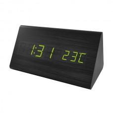 """LED часы-будильник PERFEO """"Pyramid"""" черн дерево/ зелён подсв PF-S710T (PF_A4398),температура"""