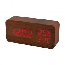 """LED часы-будильник PERFEO """"Wood"""" корич дерево/ красн подсв PF-S736 (PF_A4391) ,температура,влажность"""