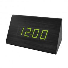 """LED часы-будильник PERFEO """"Trigonal"""" черн дерево/ зелён подсв PF-S711T (PF_A4401),температура"""