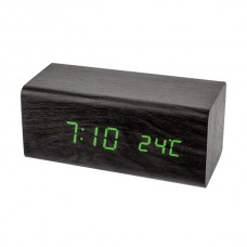 """LED часы-будильник PERFEO """"Block"""" чёрн дерево/ зелён подсв PF-S718T (PF_A4395),температура"""